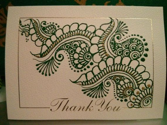 Personalized greeting card with hand-painted henna designs ...
