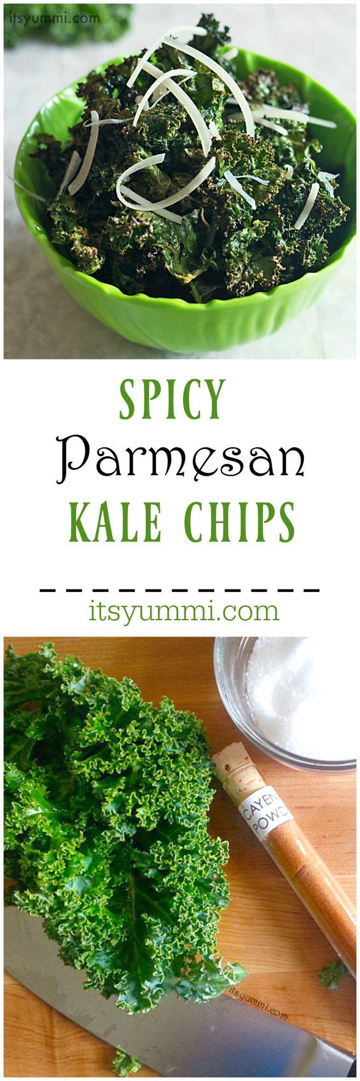 Spicy Parmesan Kale Chips - A healthy snack food that's perfect for game day snacking or after school snacks. Recipe on itsyummi.com