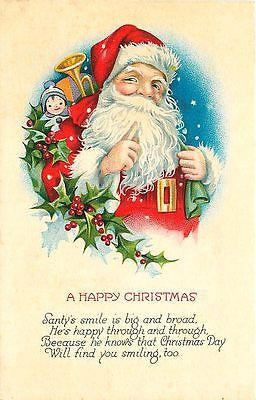Christmas 1920s Santa Claus Toy Bag Holly Collectible Antique Vintage Postcard                                                                                                                                                                                 More