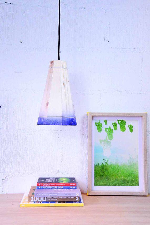 Blue Pendant Lamp Shade Handmade in Recycled Pallet Wood, Medium Hanging Ceiling Light