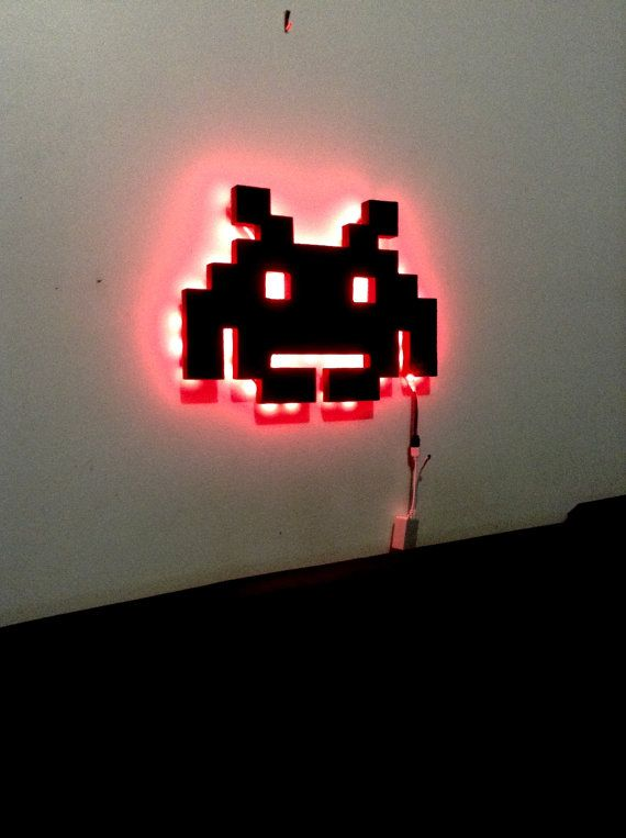 LED Space Invaders Ornament Night light Wall by DigitalWallDesigns