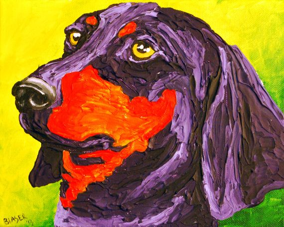 Dachshund Sticker Dog art print painting Original by RMBArtStudio, $0.50