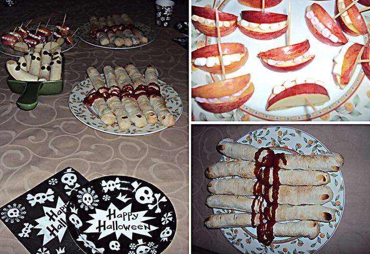 Halloween food - Simpel en lekker Halloween eten. Afgehakte vingers (een knakworstje in bladerdeeg, met een geschaafde amandel als nagel en ketchup als bloed), creepy monden (partjes appel met rode schil en witte mini-marshmallows als tanden) of spookjes (halve bananen met rozijntjes als ogen en mond).