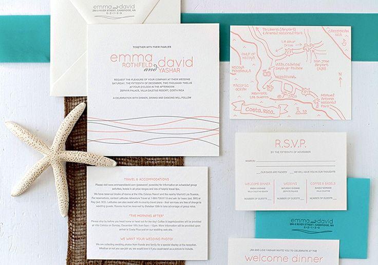 Beach-Inspired Destination Wedding Invitations by Inkprint Letterpress via Oh So Beautiful Paper (9)