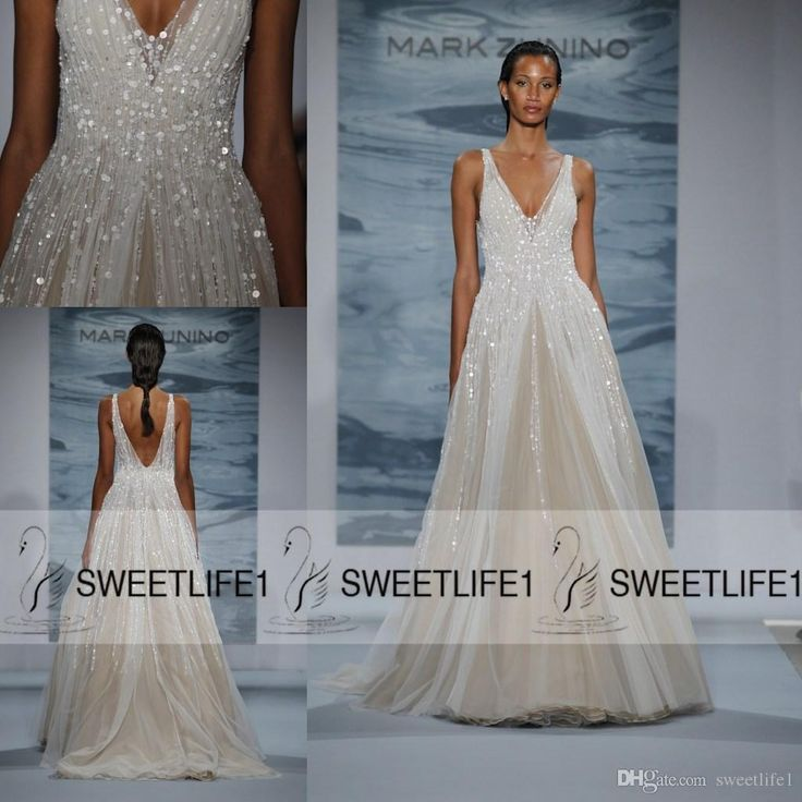 Cheap 2016 Customized New Mark Zunino Wedding Dresses Deep V Neck Sequins Backless Sexy Floor Length A Line Bridal Gowns Pageant Dresses Panina Wedding Dresses Vintage Dresses Online From Sweetlife1, $150.51| Dhgate.Com
