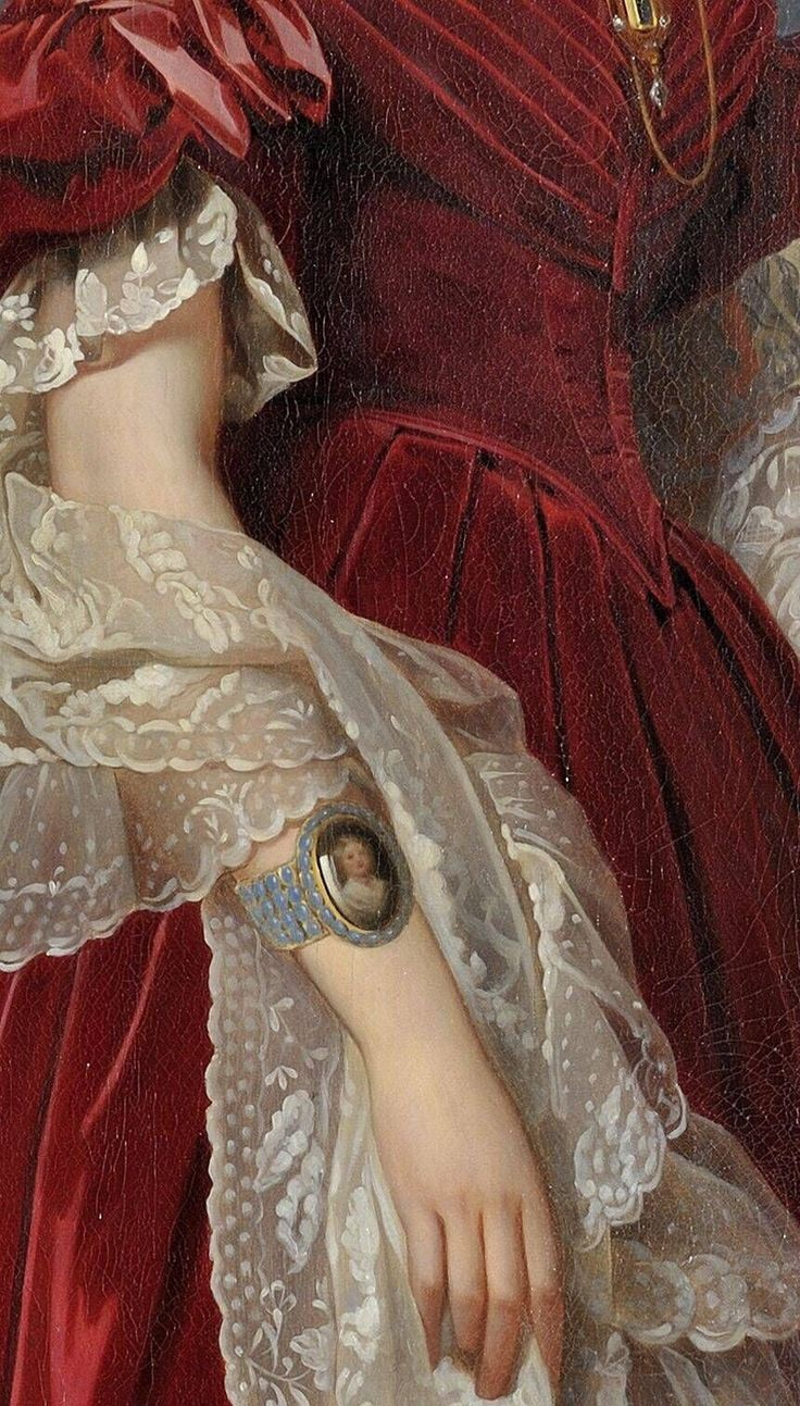 Portrait of Marie-Louise, the first Queen of the Belgians  by Franz Xaver Winterhalter, circa 1841, detail.