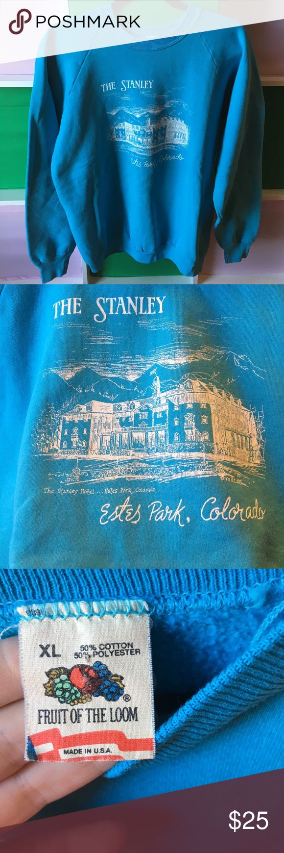 Vintage The Stanley Hotel Estes Park Sweatshirt AmaZing, vintage mint condition Stanley Hotel sweater. Beautiful blue. The Stanley Hotel inspired Stephen king to write The Shining. No piling. Perfect condition Fruit of the Loom Sweaters