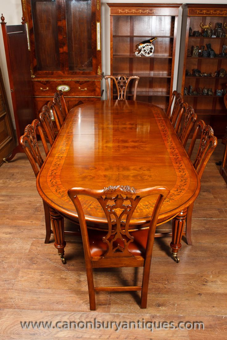 Walnut Victorian Dining Table And Set Of Matching Chippendale Chairs