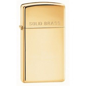 Zippo 1654 - Slim High Polished Brass - Lighter - In Stock at Gauntleys