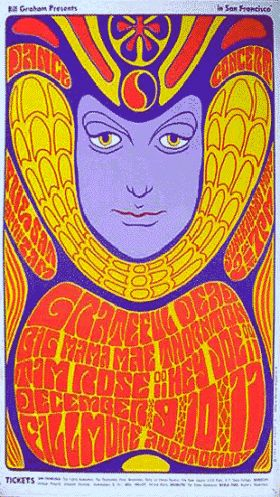 A quite beautiful poster full of the ambiance of 60s psychedelia designed for Bill Graham Presents to promote a dance concert featuring Grateful Dead, one of the most popular bands of the day, and supported by Tim Rose, Hey Joe and Big Mama Mae Thornton.