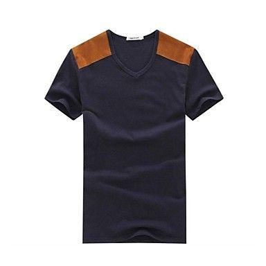 Mænds rund krave Casual kortærmet Patchwork Toppe Fashion T-shirts – DKK kr. 81