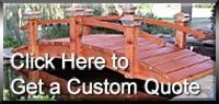 Custom Designed Redwood Garden Bridges For Koi Ponds, Japanese Gardens, Landscape Bridges. Available in a wide range of designs and all sizes.