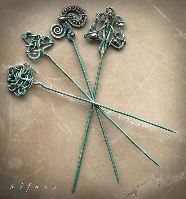 Палочки для волос / Hairpins for hair by nilaxa, via Flickr
