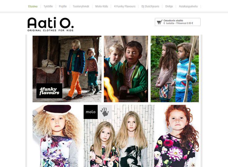 Aati O. on lastenvaatteiden verkkokauppa, jonka valikoimaan kuuluvat merkit Molo Kids, 4 Funky Flavours, DJ Dutchjeans sekä Dirkje.
