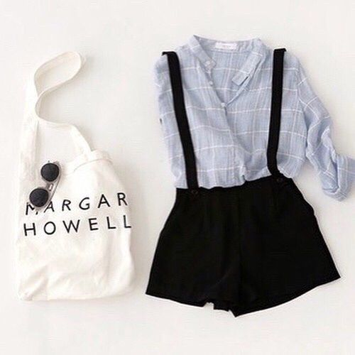 Patterned shirt + black overall shorts outfit