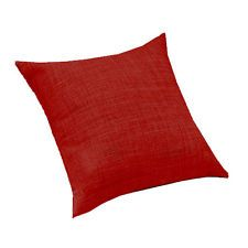 """Red Linen Effect Large 24"""" (60cm) Sofa Scatter Cushion Filled Zip Cover UK Made"""
