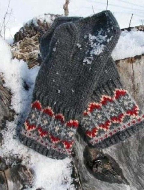 Megan Lacey - - Nordic Night Mitts (hat to match)