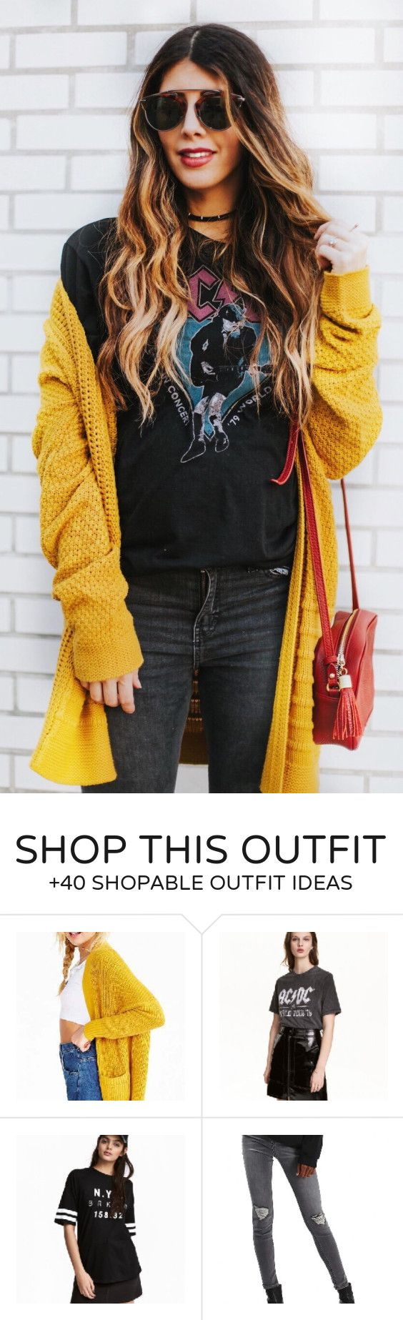 #fashion #outfits Mustard Cardigan & Black Printed Tee & Black Skinny Jeans