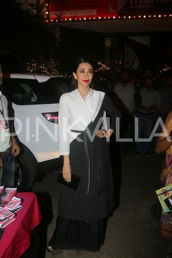 Photos: Karisma Kapoor clicked with father Randhir Kapoor at an event | PINKVILLA