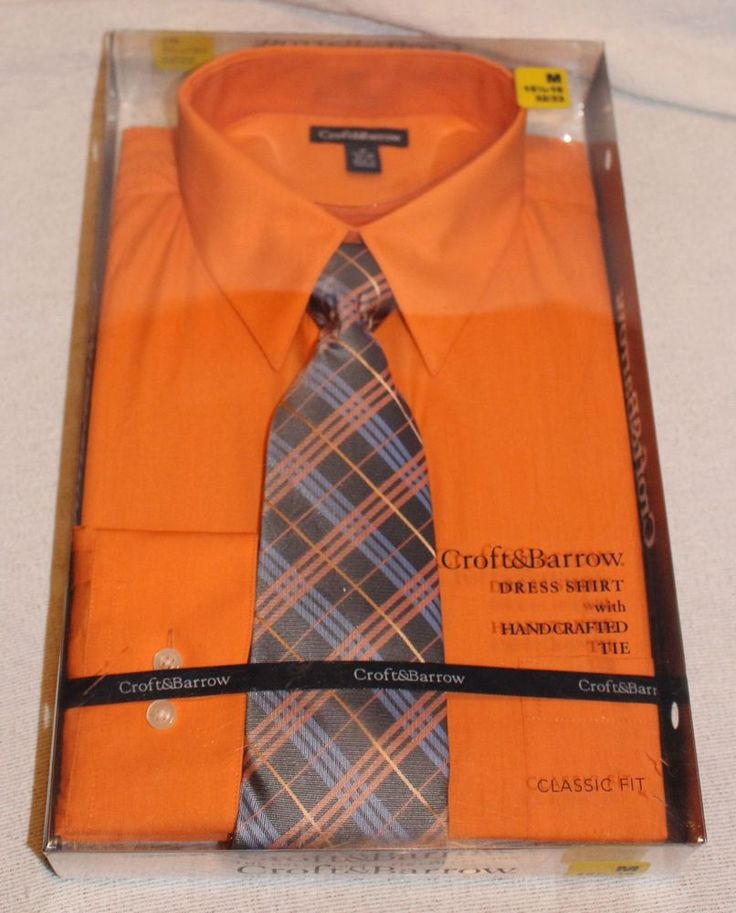 Croft & Barrow Orange Dress Shirt and GreyTie Bundle - 15.5-16 32/33 - New #CroftBarrow