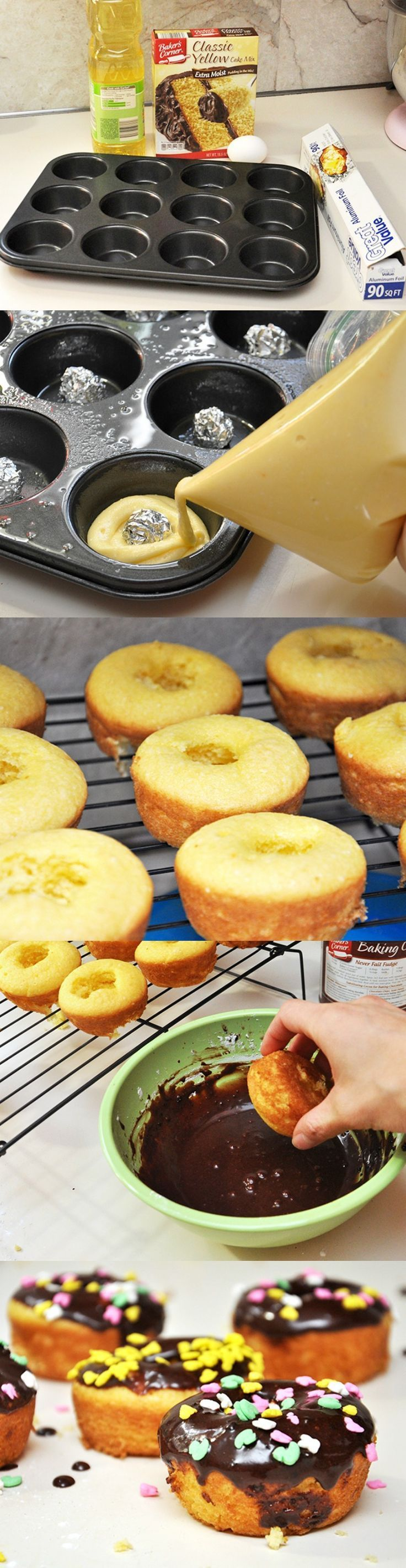 What looks like a donut but isn't fried? This easy baked donut recipe! These delicious yellow cake mix donuts are perfect for when you want a tasty treat to satisfy your sweet tooth. You don't need a donut pan. You'll love the chocolate frosting and sprinkles on top!