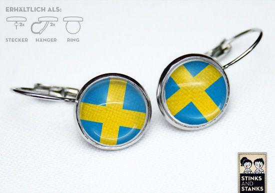 Ohrringe Schweden Flaggen SC172 von STINKSANDSTANKS - Individualisierbare Geschenke auf DaWanda.com
