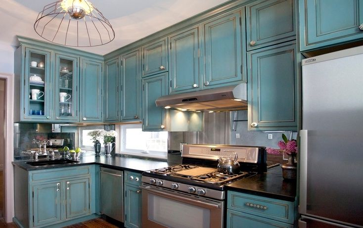 Kitchen cousins antiqued teal cabinets ideas for later for Teal kitchen cabinets
