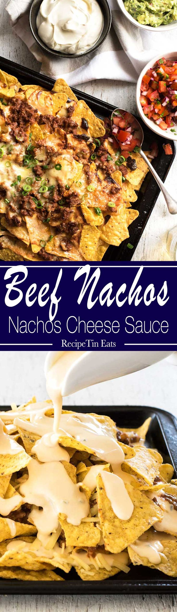 Beef Nachos - made this for book club, everyone went WILD over it!! The cheese sauce is what makes it!!!