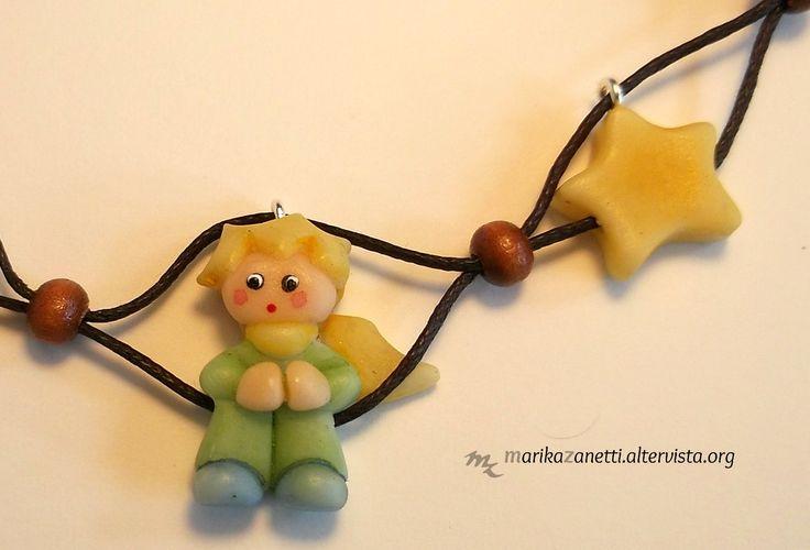 Collana piccolo principe in pasta di mais e perle di legno www.marikazanetti.altervista.org