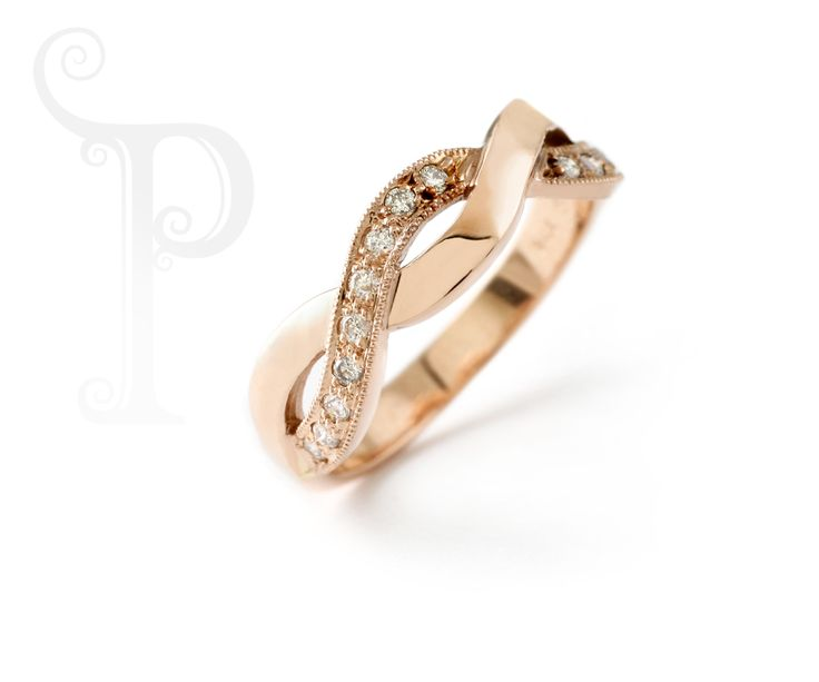 18ct Rose Gold Helix Ring, Set With Small Round Brilliant Cut Diamonds