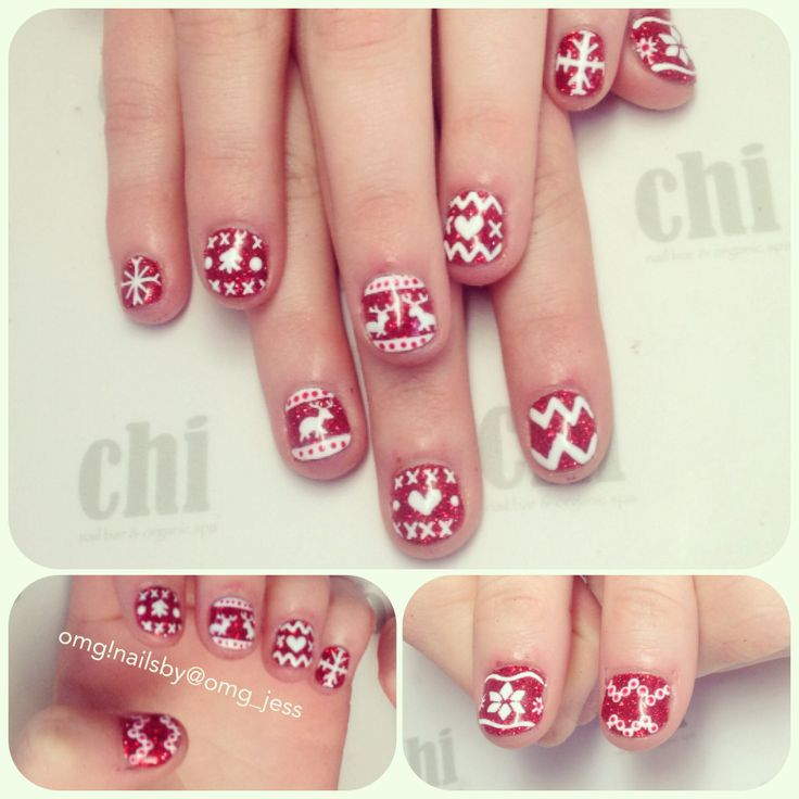 Ugly sweater Christmas nail art