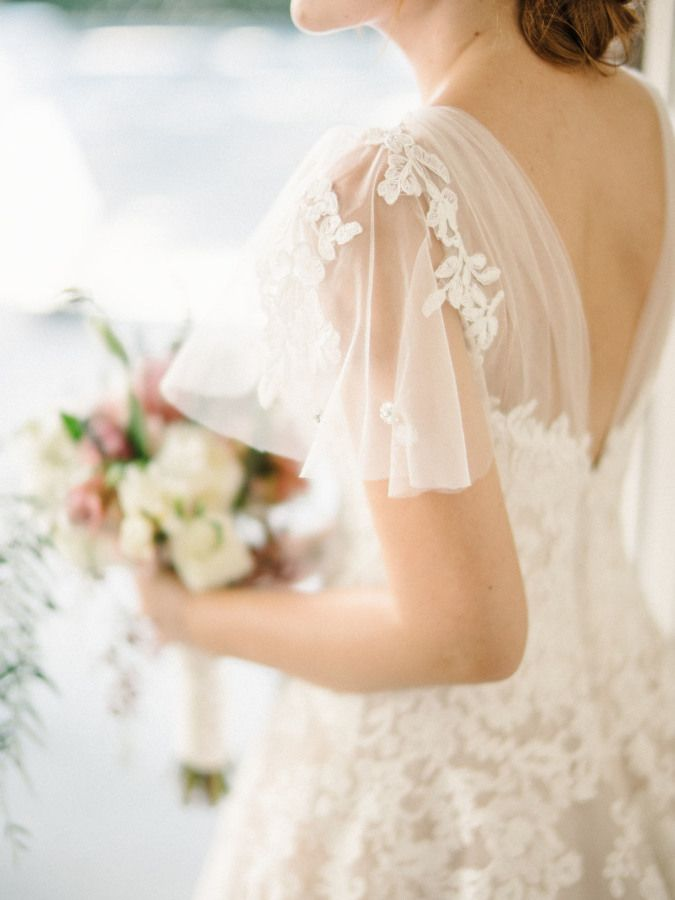 Sheer lace embroidered tulle sleeve: http://www.stylemepretty.com/little-black-book-blog/2016/02/11/intimate-sweet-lombardi-house-summer-wedding/ | Photography: Steve Steinhardt - http://www.stevesteinhardt.com/