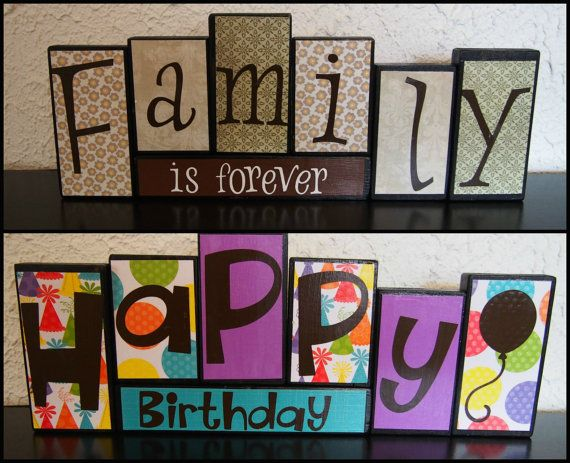 Reversible blocks: Family is Forever and Happy Birthday