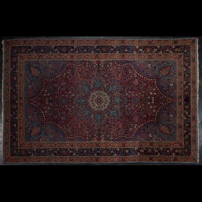 Wool Moud rug with red field, 20th Century more details on en.expertissim.com