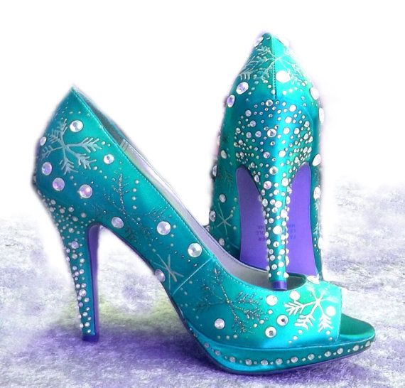 Wedding Shoes snowflakes  Winter Tiffany blue sparkle by norakaren, $275.00  They look like Elsa from Frozen would wear them.