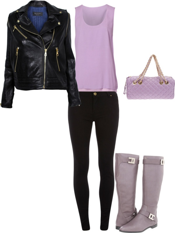 """lavender biker chick"" by katelquick on Polyvore"