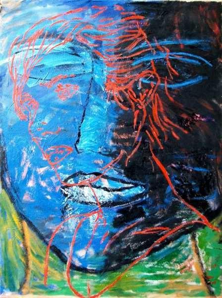 """A. Costantino - """"Viso rosso su viso blu"""" - oil on canvas - cm 70 x 50 - 2010"""