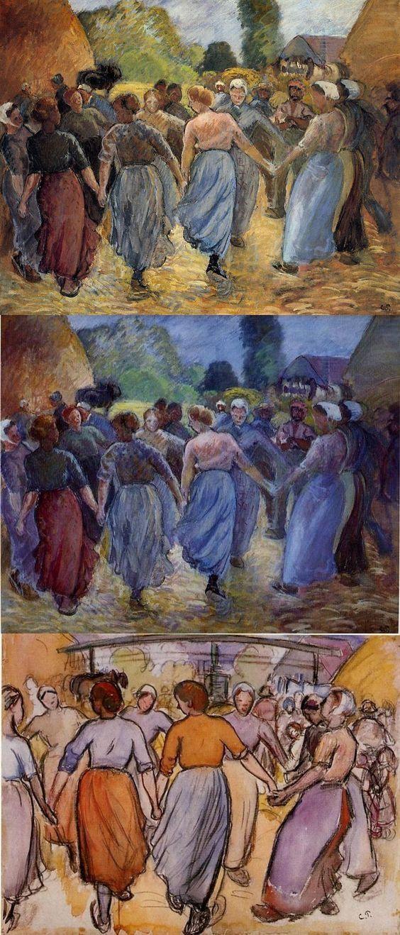 """Camille Pissarro (1830-1903) ~ """"La Ronde"""", 1892 ~ Huile, Détrempe, Aquarelle (de Haut en Bas)"""