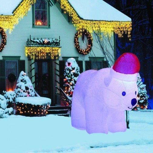 Christmas Polar Bear Airblown Inflatable 6.5 Ft Yard LED Lighted Xmas Decor #easy_shopping08
