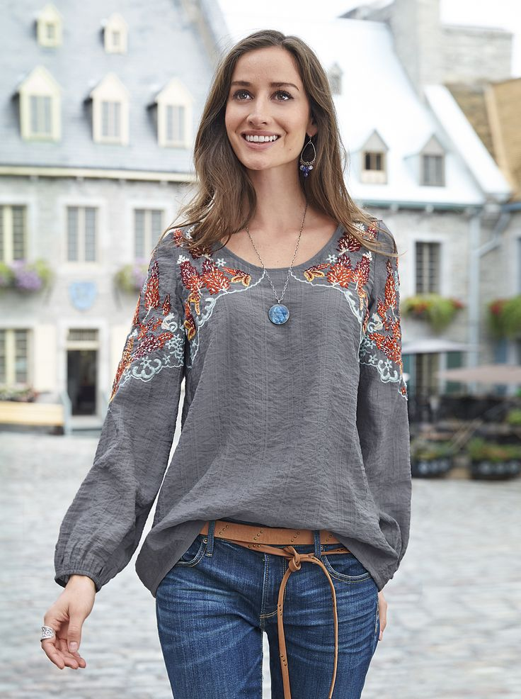 Tuesday Afternoon Blouse - cotton blouse with blooming embroidery.
