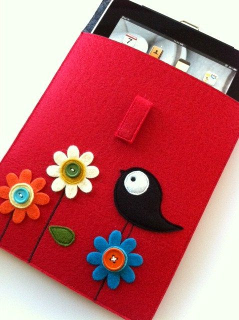 READY TO SHIP--Sale-- Ipad Case Sweet Tweet Collection in Red--Blue flap No.6. $50.00, via Etsy.