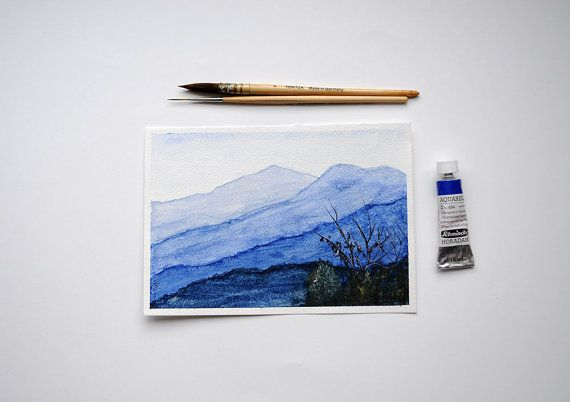 Distant Hills  Watercolor Painting/  Original by SundayWatercolor