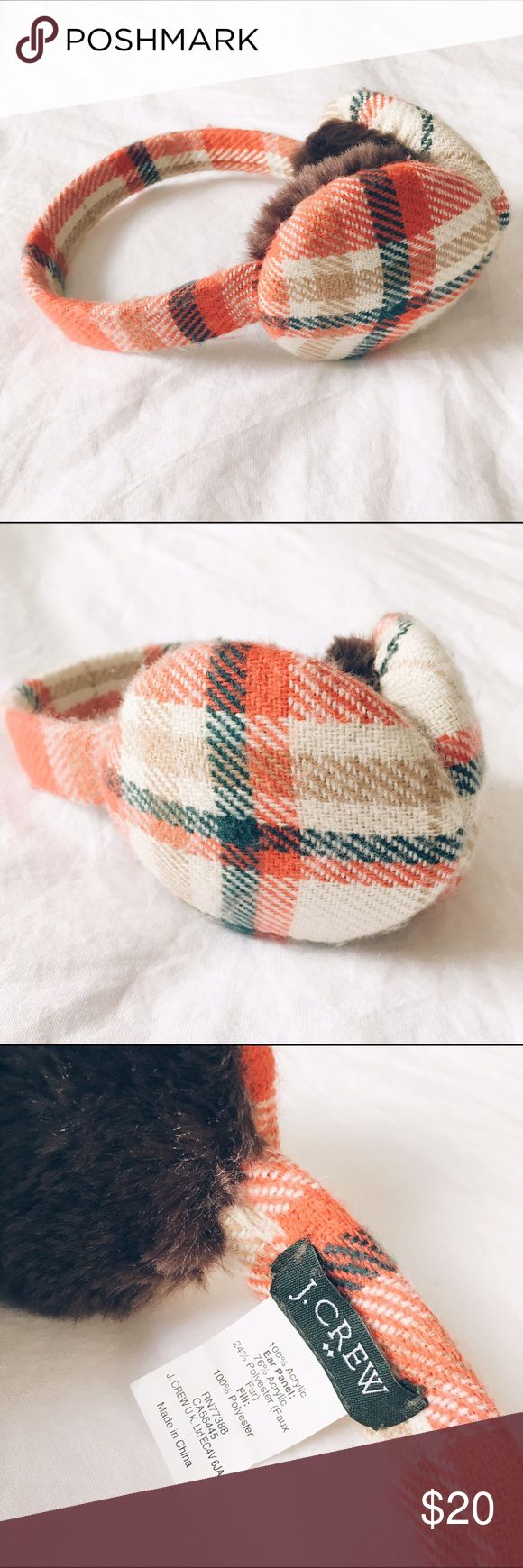 J.Crew Plaid Earmuffs Red, blue, and cream plaid earmuffs with faux fur lining. J. Crew Accessories