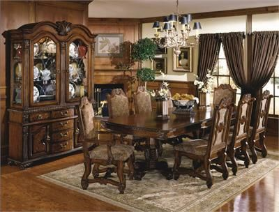 Crown Mark 7 Pc Neo Renaissance Cherry Brown Finish Wood Formal Dining  Table Set With Burl Inlays