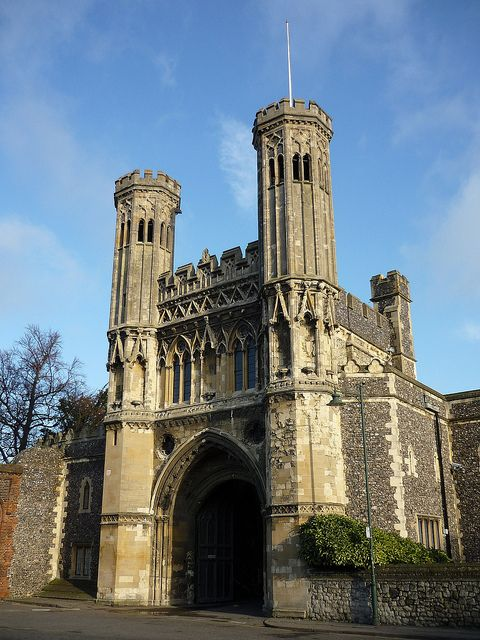 Great Gate to St Augustine's Abbey, Canterbury, England, UK - Built in 1309, it is now part of the King's School.
