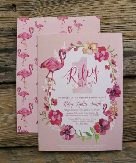 1st Birthday Party Flamingo Invites - by Makewells