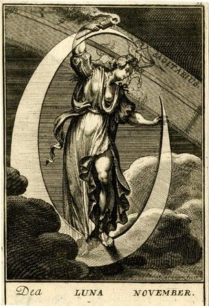 """November"" -  The goddess Luna standing in a lunar crescent  1698 Engraving"