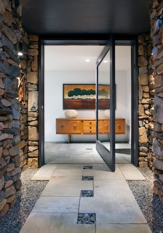 "Contemporary Front Door with Cascade Stoneworks Mexican Beach Pebble - Black 1-2"", Modern Steel Doors Pivot Door"