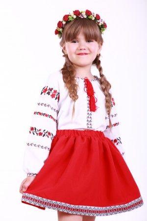 Червона спідниця для дівчинки з ніжною та романтичною тасьмою по подолу.  Талія на резинці. Убрання пасуватиме і до вишиванки 81e5c042dafbf