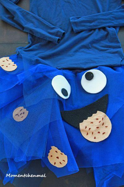 Krümelmonster Kostüm Rock und Oberteil Tüll Damen Keks Blau Karneval Momentchenmal Blog